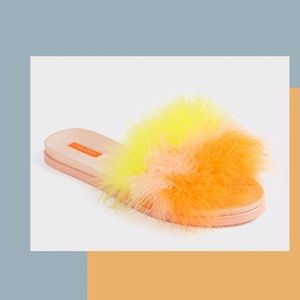 NEW ALDO FLUFFY FEATHER SLIP-ON SLIDES